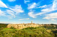 Stock Photo of tuscany, pitigliano medieval village panorama landscape. italy