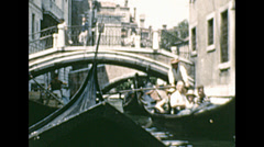 Venice 1964: gondola in a canal Stock Footage