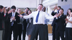 Successful Businessman with his entourage of staff. Politician and his public. A Stock Footage