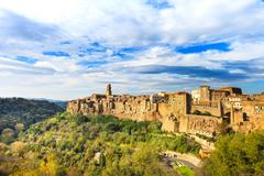 Tuscany, pitigliano medieval village panorama landscape. italy Stock Photos