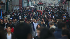 Time lapse tram and crowded people Stock Footage
