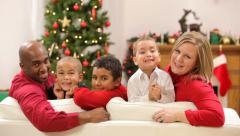Portrait of family at Christmas - stock footage