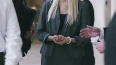 Portrtait of young blonde woman at work. Large business organization in - stock footage