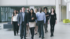Portrait of a large business team. Content young business team smiling into - stock footage