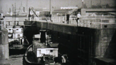 Boat Going Through Locks In Seattle-1940 Vintage 8mm film Stock Footage