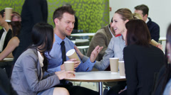 Coffee break meeting. Corporate office business people. Businessmen and Stock Footage