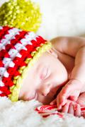 newborn christmas baby - stock photo