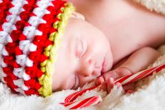 Newborn christmas baby Stock Photos