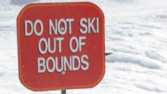 Do Not Ski sign Stock Footage