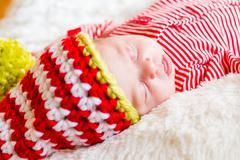 newborn christmas baby - stock photo
