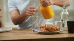 Closeup shot of couple preparing for breakfast - stock footage