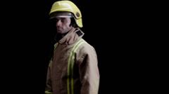 Fireman on black background Stock Footage