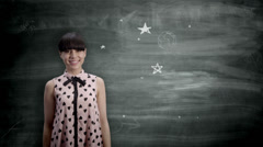 Woman holding the Earth on a blackboard. Animated World with businesswoman or Stock Footage
