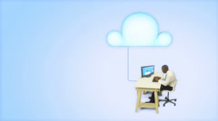 Cloud computing concept with business person Stock Footage