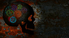 Rusty Mechanical Gears Movement in a Human Skull on a Grunge Texture Background Stock Footage