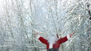Stock Video Footage of Santa Claus throwing snow into air slow motion