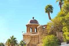 The stone fortress wall and a cannon hotel treasure island in las vegas Stock Photos
