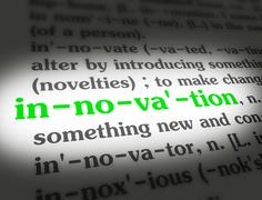 Dictionary - Innovation - Green On White Stock Photos