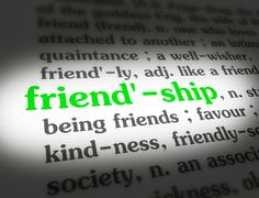 Dictionary - Friendship - Green On White - stock illustration