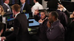 Crowd of financial traders in a Stock Exchange. Business people trading stocks - stock footage
