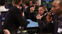 Crowd of financial traders in a Stock Exchange. Business people trading stocks Stock Footage