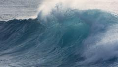 Powerful wave curls on Hawaii's North Shore, slow motion Stock Footage