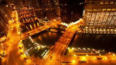 Chicago River / Downtown from Above - Time Lapse - 4K Stock Footage