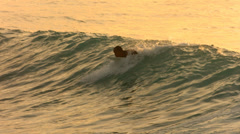 Surfer paddles into wave in late afternoon light, slow motion - stock footage