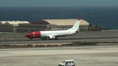 Norwegian airline at Aeropuerto de Gando in Gran Canaria Stock Footage