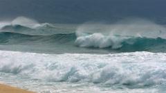 Waves break at Pipeline, North Shore, Oahu, Hawaii Stock Footage