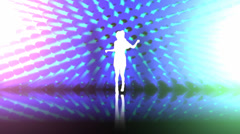 Music video scene with dancing woman on animated background. High quality HD Stock Footage