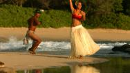 Stock Video Footage of Polynesian dancers perform at beach in Hawaii, slow motion