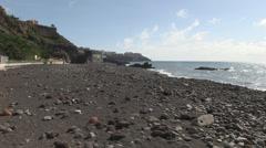 Praia formosa beach area and coastal footpath in madeira Stock Footage