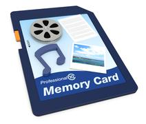 multimedia data on a memory card - stock illustration