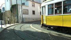 historic trams in lisbon portugal - stock footage