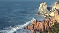 Sea cliffs at cabo da roca,cape roca, westernmost extend of portugal and europe Stock Footage