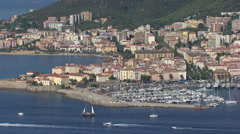 Aerial landscape ajaccio Corsica harbor Stock Footage