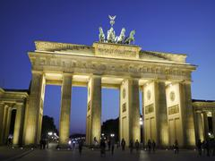 brandenburg gate at dusk berlin - stock photo