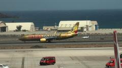 Haribo Goldbären aeroplane at Aeropuerto de Gando in Gran Canaria Stock Footage