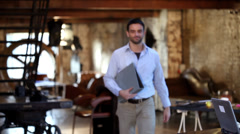 Small Business Team.  Casual downtown workers in chic loft or warehouse offices. Stock Footage