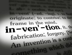 Dictionary - Invention - Black On White Stock Photos