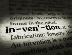 Dictionary - Invention - Black On BG Stock Photos