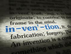 Dictionary - Invention - Blue On BG Stock Photos