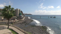cement works by the coast in madeira Stock Footage