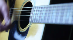 Acoustic guitar strumming right hand Stock Footage