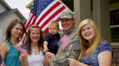 Portrait of American military family - stock footage