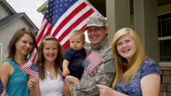 Stock Video Footage of Portrait of American military family