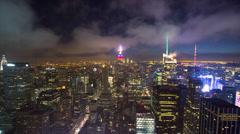 New York City manhattan buildings skyline timelapse night - stock footage
