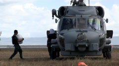 Typhoon Haiyan Operation Damayan, Navy Seahawk  Helicopter MH-60R Aid Delivery Stock Footage