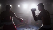 Stock Video Footage of Boxers fight in boxing ring